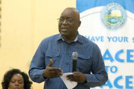 Chief Secretary Kelvin Charles makes his contribution.