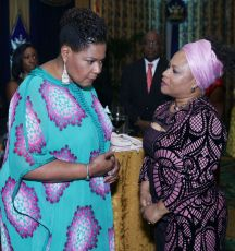 Trinidad and Tobago President, Her Excellency Paula-Mae Weekes, speaks with Presiding Officer Dr. Denise Tsoiafatt-Angus.