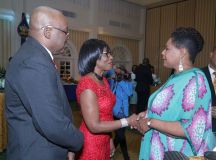 Trinidad and Tobago President, Her Excellency Paula-Mae Weekes greets Catherine Charles, wife of THA Chief Secretary Kelvin Charles.