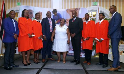 From left, YTEPP Deputy Chairman Jesse Moss, graduands Regine Daniel and Anike Taylor, Chief Secretary Kelvin Charles, YTEPP Chairman Thora Best, Minister Dr Lovell Francis, graduand Jerron Caruth and Benjamin Parsotan and YTEPP CEO Nigel Forgenie take a group photo.