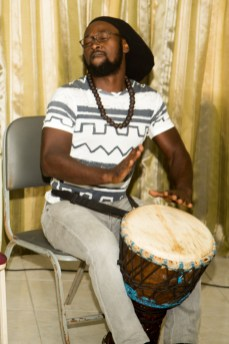 A drummer entertains the audience.