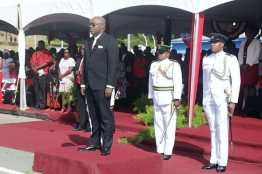 Chief Secretary Kelvin Charles stands during the Tobago Independence Parade as the island celebrated Trinidad and Tobago's 56th Independence.