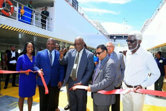 From left Secretary of Tourism, Culture and Transportation Nadine Stewart-Phillips, Secretary of Finance and the Economy Joel Jack, THA Chief Secretary Kelvin Charles, Minister of Works and Transport Rohan Sinanan, and NIDCO Chairman Herbert George at the cutting of the ribbon.