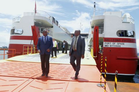 From left Secretary of Finance and the Economy Joel Jack and THA Chief Secretary Kelvin Charles outside the Galleons Passage.