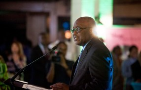Chief Secretary Kelvin Charles delivers the evening's feature address.