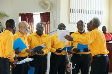 Members of the Moriah Moravian Church men's choir perform during the celebration.