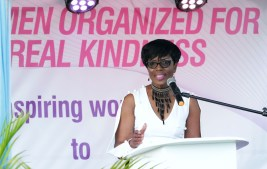 Catherine Anthony-Charles addresses attendees during the launch.