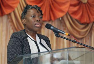 New DEIE Administrator Sheryl Ann Solomon addresses attendees at the conference.