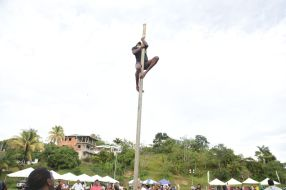 A man climbs a greasy pole.