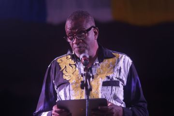Chairman of the Tobago Festivals Commission George Leacock addresses the audience.