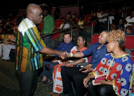 THA Chief Secretary Kelvin Charles greets Vice-President of the Senate, Nigel De Freitas, who was among the government ministers attending the opening night of the Tobago Heritage Festival. Looking on from left are Energy Minister Franklin Khan and his wife, Laura, and at right Culture Minister Nyan Gadsby-Dolly.