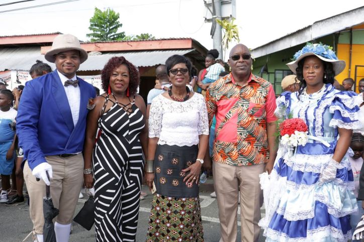 From left, Infrastructure, Quarries and the Environment Secretary Kwesi Des Vignes, Community Development, Enterprise Development and Labour Secretary Marslyn Melville-Jack, Catherine Anthony-Charles and her husband Chief Secretary Kelvin Charles are among the participants during the first community event for the 2019 Tobago Heritage Festival.
