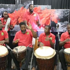 The Jabali Drummers entertain the crowd.
