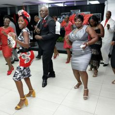 THA Chief Secretary Kelvin Charles and guests do the electric slide.