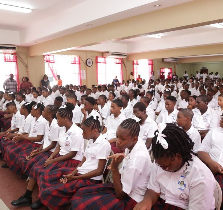 THA Chief Secretary Hon. Kelvin Charles addresses students of the Pentecostal Light and Life Foundation High School during the morning assembly.