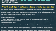 Youth and Sport activities temporarily suspended