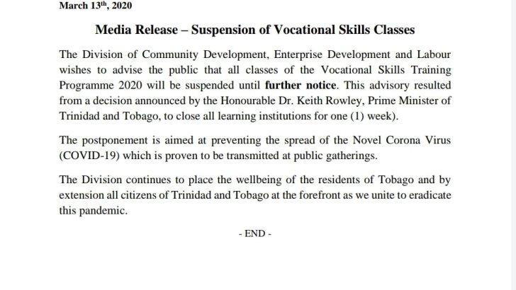 Suspension of Vocational Skills Classes