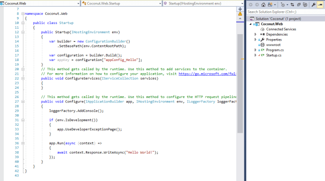 Empty Web project created by VS2017