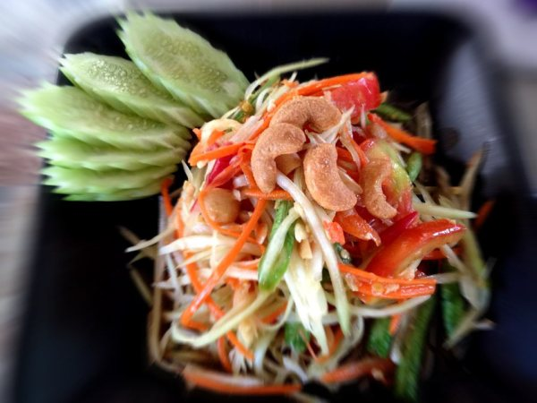 Som Tum prepared in our cooking class on Koh Tao