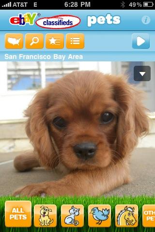 eBay Classifieds Pets iPhone App