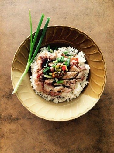 food, pork, rice