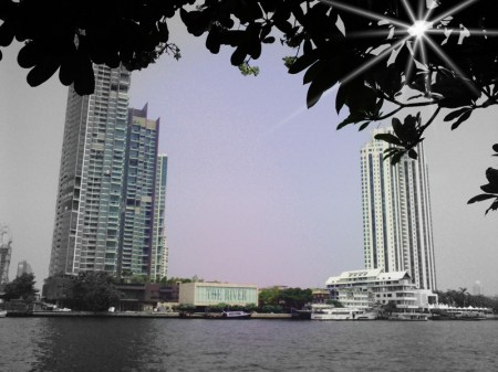 Building by the river in Bangkok