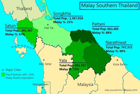 Southern Thailand Muslim Map