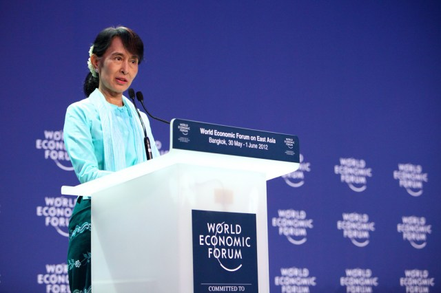 Aung San Suu Kyi, Chairman of the National League for Democracy (NLD), Myanmar, captured during the World Economic Forum on East Asia in Bangkok, Thailand, June 1, 2012.
