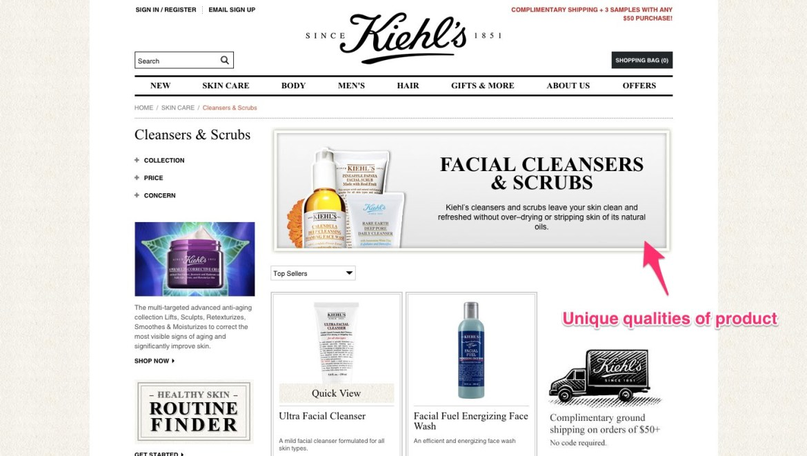 Figure 1: Kiehl's beauty products displayed on its own website
