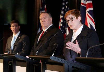 Australia's Foreign Minister Marise Payne speaks during a joint news conference with US Secretary of Defence Mark Esper, US Secretary of State Mike Pompeo and Australia's Defence Minister Linda Reynolds (unseen) in Sydney, Australia, 4 August 2019 (Photo: Reuters/Jonathan Ernst/Pool).