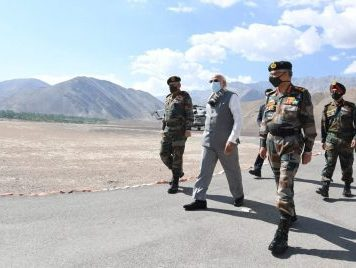 India's Prime Minister Narendra Modi visits Himalayan region of Ladakh, 3 July 2020 (Photo: India's Press Information Bureau Handout via Reuters).