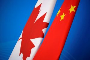 Flags of Canada and China are placed for the first China-Canada economic and financial strategy dialogue in Beijing, China, 12 November 2018 (Photo: Reuters/Jason Lee/Pool).