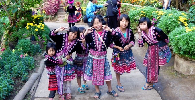 Hmong children in their village. Doi Pui, Chiang Mai