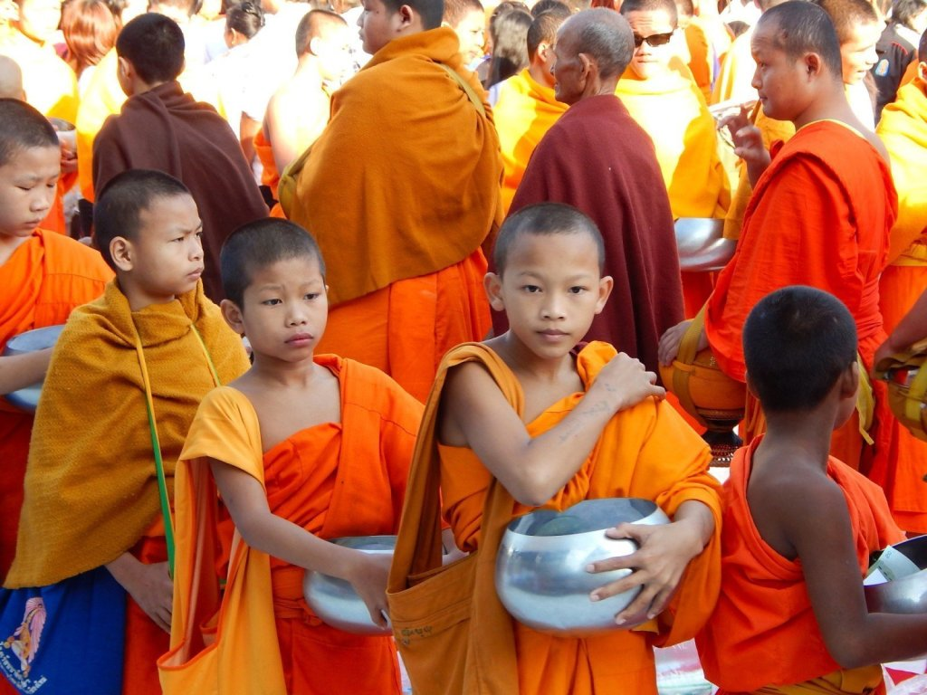 Thailand Buddhism 12600 monks collect alms Chiang Mai