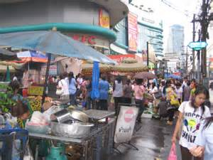 Bangkok pavement clean-up. Street vendors are being moved on