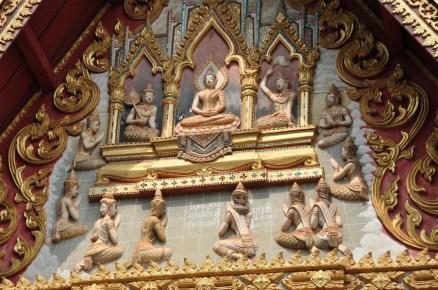 detail facade wat si muang Vientiane Laos
