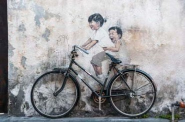 Ernest Zacharevic - Little Children on a Bicycle - Armenian Street
