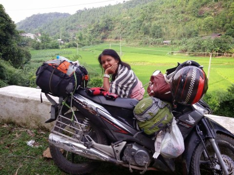Pause photo avec moto nord vietnam