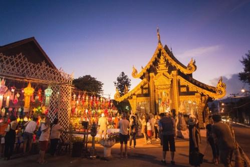 temple loy krathong yi peng festival chiang mai - thailande