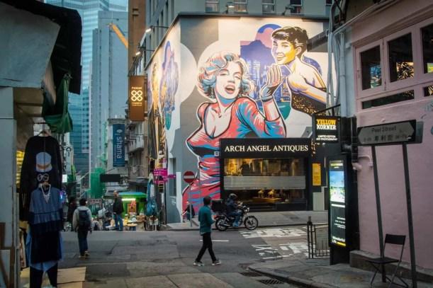 marilyn street art wall peel street - hong kong