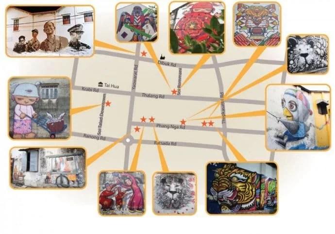 carte des street art old phuket town