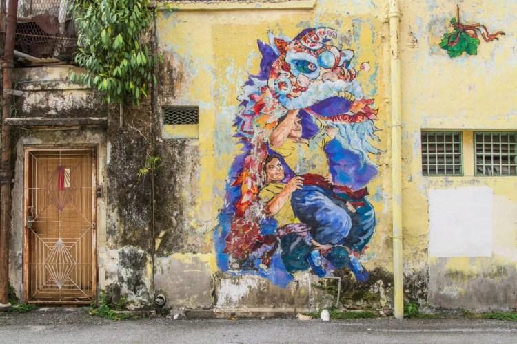 peinture murale lion chinois ipoh - malaisie