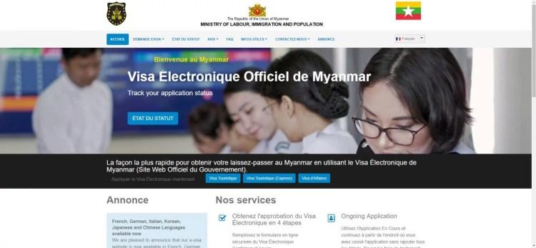 capture ecran site officiel evisa myanmar