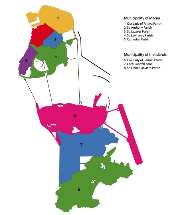 carte macao division des districts