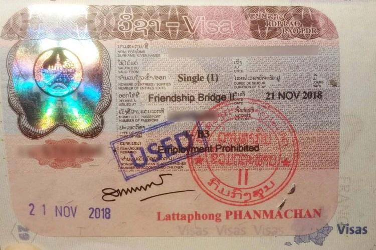 visa laos pdr tampon passeport