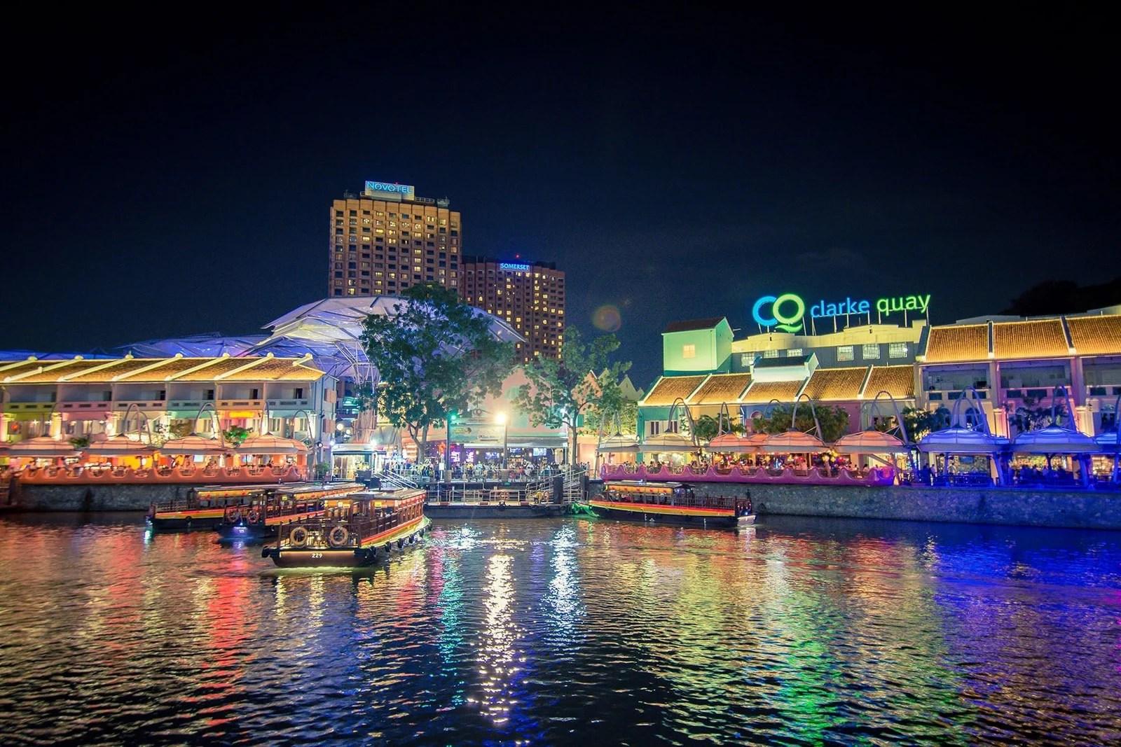 clarke quay de nuit singapour