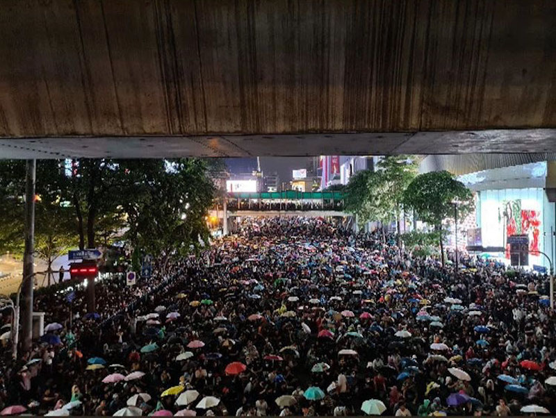 Protest against the government at Ratchaprasong intersection in Bangkok on 15 October 2020