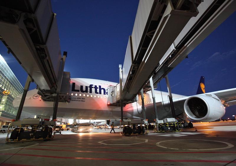 Lufthansa Airbus A380 at Frankfurt airport, Germany