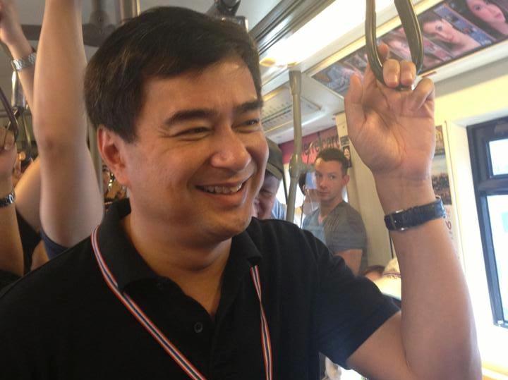 Abhisit Vejjajiva taking the BTS Skytrain during the Bangkok Shutdown protests