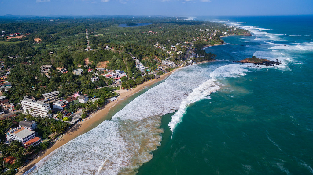 Aerial view of Mirissa and the coast of Sri Lanka
